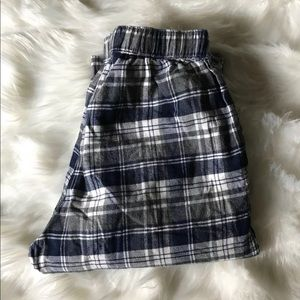 Mens' soft blue and white flannel PJ bottoms